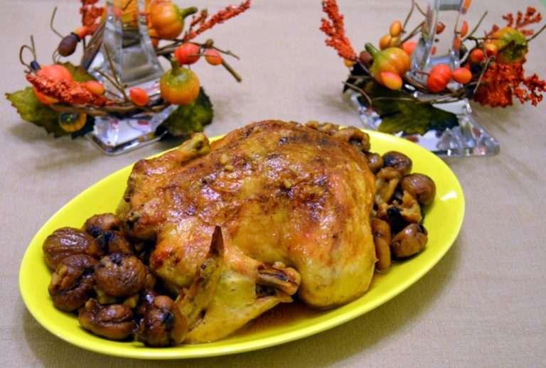 Печено пиле с кестени